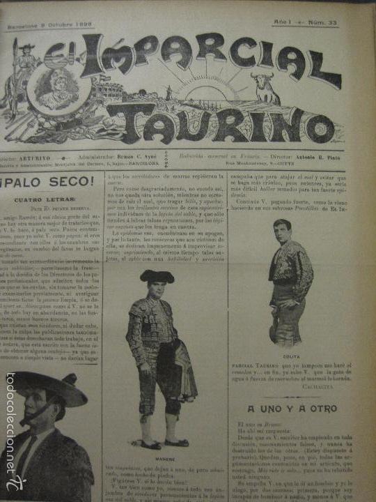 Tauromaquia: EL IMPARCIAL TAURINO -44 PRIMERAS REVISTAS- BARCELONA AÑO 1898 - VER FOTOS - MIDE 25X36CM-(V-5460) - Foto 36 - 56595975