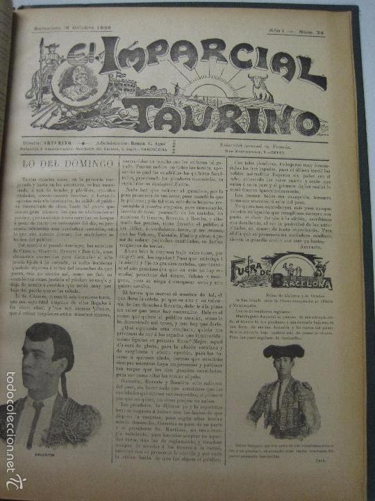 Tauromaquia: EL IMPARCIAL TAURINO -44 PRIMERAS REVISTAS- BARCELONA AÑO 1898 - VER FOTOS - MIDE 25X36CM-(V-5460) - Foto 37 - 56595975