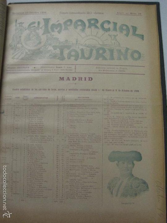 Tauromaquia: EL IMPARCIAL TAURINO -44 PRIMERAS REVISTAS- BARCELONA AÑO 1898 - VER FOTOS - MIDE 25X36CM-(V-5460) - Foto 38 - 56595975