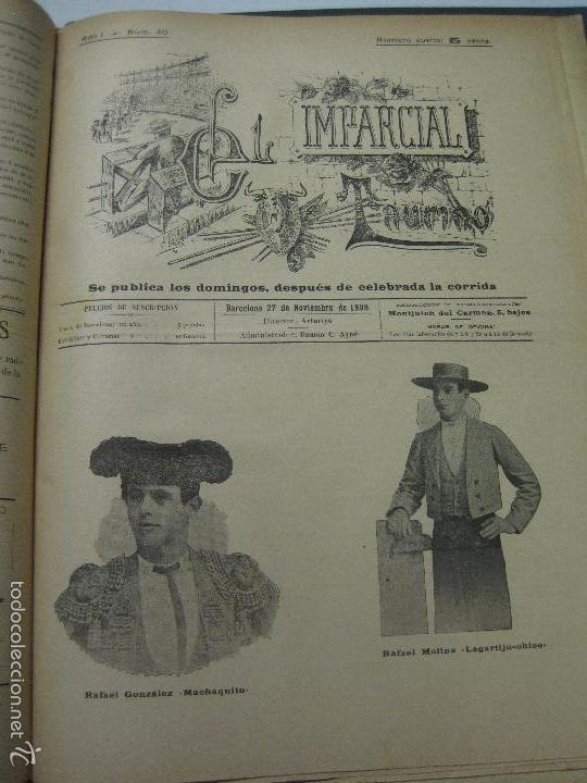 Tauromaquia: EL IMPARCIAL TAURINO -44 PRIMERAS REVISTAS- BARCELONA AÑO 1898 - VER FOTOS - MIDE 25X36CM-(V-5460) - Foto 43 - 56595975