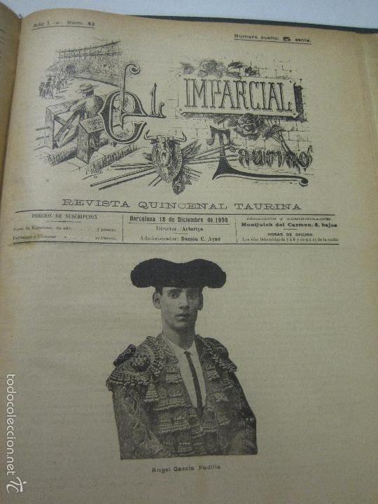 Tauromaquia: EL IMPARCIAL TAURINO -44 PRIMERAS REVISTAS- BARCELONA AÑO 1898 - VER FOTOS - MIDE 25X36CM-(V-5460) - Foto 45 - 56595975