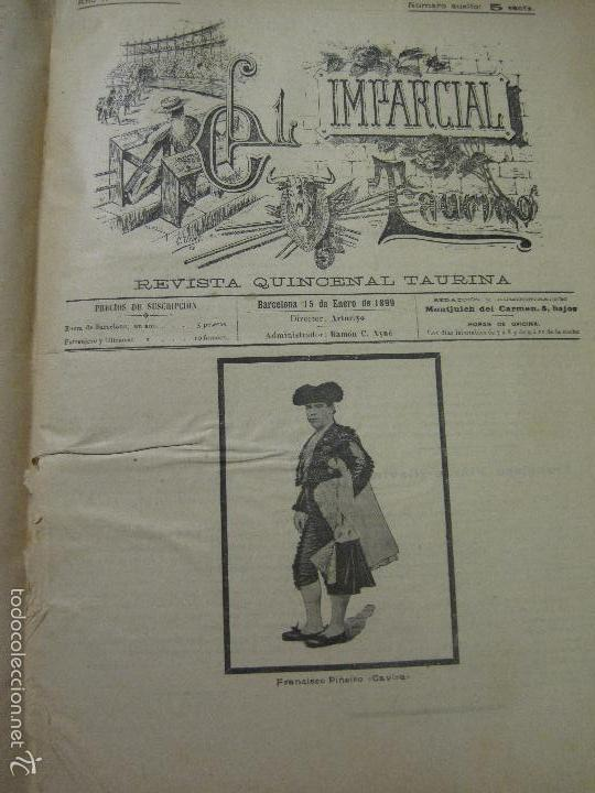 Tauromaquia: EL IMPARCIAL TAURINO -44 PRIMERAS REVISTAS- BARCELONA AÑO 1898 - VER FOTOS - MIDE 25X36CM-(V-5460) - Foto 47 - 56595975