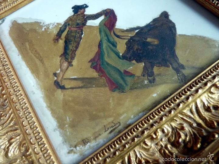 MARAVILLOSA PINTURA TOROS SOBRE CERÁMICA SIGLO XIX TORERO FIRMADA (Coleccionismo - Tauromaquia)