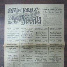 Tauromaquia: CARTEL DE TOROS. PLAZA DE TOROS DE SEVILLA. DOMINGO RESURRECCIÓN. FERIA Y FIESTAS PRIMAVERALES. 1969. Lote 57099760