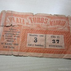 Tauromaquia: ENTRADA PLAZA DE TOROS DE MADRID FESTIVAL CÓMICO TAURINO 25 DE MAYO 1954. Lote 57120958