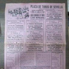 Tauromaquia: CARTEL DE TOROS. PLAZA DE TOROS DE SEVILLA. DOMINGO RESURRECCIÓN Y FERIA DE ABRIL. 1963. Lote 57162206