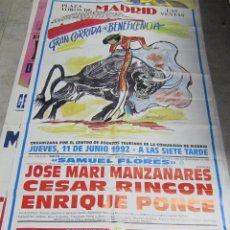 Tauromaquia: CARTEL. PLAZA DE TOROS DE MADRID. 1992. CORRIDA DE BENEFICIENCIA. MANZANARES, RINCON, PONCE.. Lote 57296370