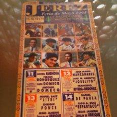 Tauromaquia: CARTEL DE TOROS EN JEREZ. AÑO 1995. LITRI, ESPARTACO, DE PAULA, E. PONCE, JOSELITO.. Lote 57350739