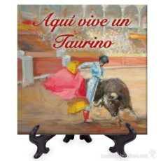 Tauromaquia: AZULEJO 20X20 AQUI VIVE UN TAURINO.. Lote 58385661
