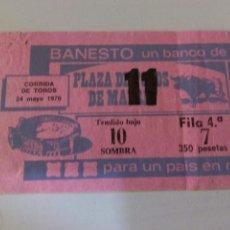 Tauromaquia: ENTRADA PLAZA DE TOROS DE MADRID MAYO 1970. Lote 58593221