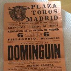 Tauromaquia: CARTEL TOROS EN MADRID 7 DE JULIO 1949 LUIS MIGUEL DOMINGUIN. Lote 58672388