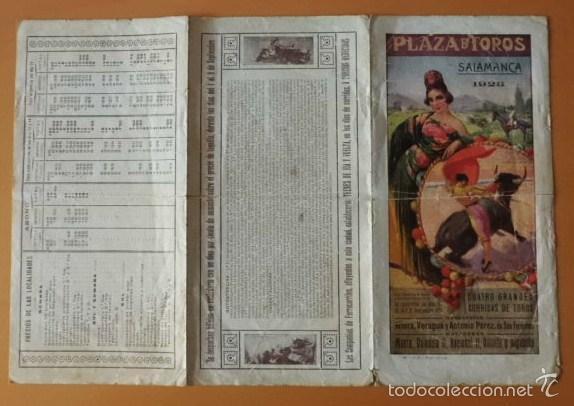 PROGRAMA TRI.DE TOROS PLAZA DE SALAMANCA. 1923. MAERA, VALENCIA II, NACIONAL II, VILLALTA Y ALBABEÑO (Coleccionismo - Tauromaquia)