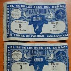 Tauromaquia: LOTE 3 ENTRADAS PLAZA DE TOROS DE MADRID. 8 OCTUBRE 1950. PUBLICIDAD COÑAC CENTENARIO. TERRY. Lote 59595607