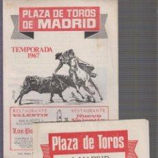 Tauromaquia: PLAZA DE TOROS DE MADRID. TEMPORADA 1965Y 1967 . Lote 61072447