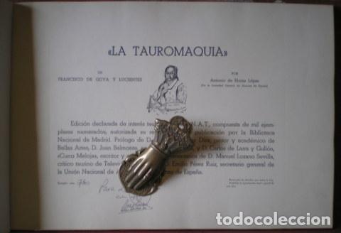Tauromaquia: GOYA Y LUCIENTES, Francisco de: LA TAUROMAQUIA. Por Antonio de Horna López. Con 40 láminas - Foto 3 - 61993840