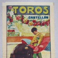 Tauromaquia: CARTEL PLAZA TOROS CASTELLON. AÑO 1927. REAPARICION DE MANOLITO AGUERO Y CHIQUITO DE LA AUDIENCIA. Lote 63000324