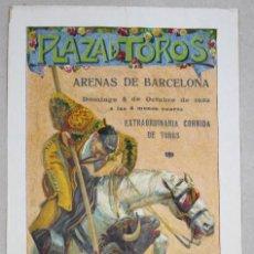 Tauromaquia: CARTEL PLAZA DE TOROS ARENAS DE BARCELONA. 8 DE OCTUBRE DE 1922. Lote 63001280