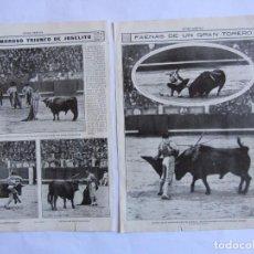 Tauromaquia: RECORTE MUNDO GRAFICO 12 MAYO 1915. TRIUNFO DEL TORERO JOSELITO 2 HOJAS.. Lote 63112712