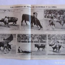 Tauromaquia: RECORTE MUNDO GRAFICO 28 JULIO 1915. JOSELITO Y BELMONTE EN LA LINEA Y ALGECIRAS.. Lote 63468692