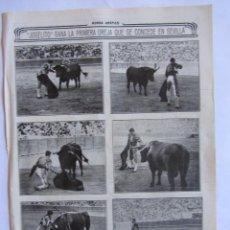 Tauromaquia: RECORTE MUNDO GRAFICO 06-10-1915 JOSELITO EN LA FERIA DE SEVILLA. Lote 64472983