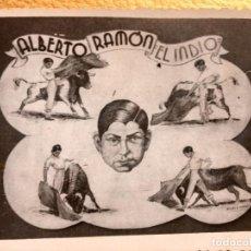 Tauromaquia: ALBERTO RAMÓN EL INDIO TORERO TOROS APODERADO MIGUEL E. MONTOYA BANDERILLERO FOTOGRAFÍA CARTEL. Lote 64848571
