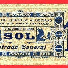Tauromaquia: ANTIGUA ENTRADA TOROS, PLAZA DE ALGECIRAS CADIZ , 1908 ,ORIGINAL , ET 2499. Lote 68865885