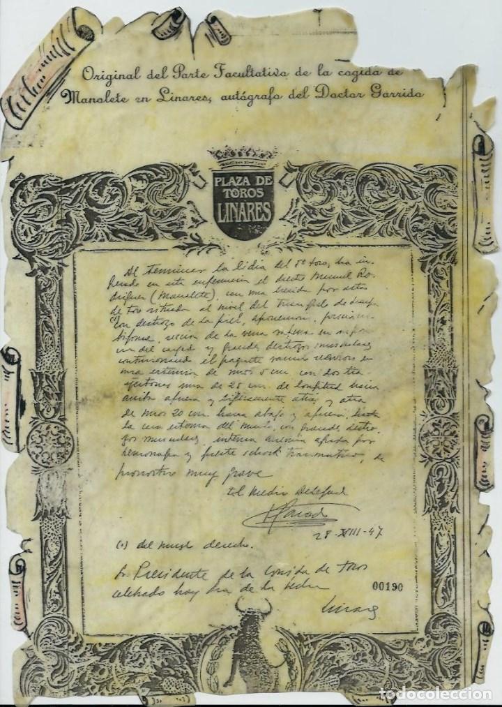 MANOLETE UNA PLANCHA ORIGINAL DEL PARTE FACULTATIVO DE LA COGIDA EN LINARES -AUTOGRAFO DR. GARRIDO (Coleccionismo - Tauromaquia)