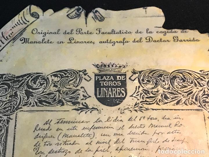 Tauromaquia: MANOLETE UNA PLANCHA ORIGINAL DEL PARTE FACULTATIVO DE LA COGIDA EN LINARES -AUTOGRAFO DR. GARRIDO - Foto 3 - 71912443