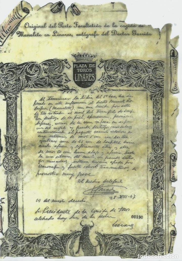 Tauromaquia: MANOLETE UNA PLANCHA ORIGINAL DEL PARTE FACULTATIVO DE LA COGIDA EN LINARES -AUTOGRAFO DR. GARRIDO - Foto 7 - 71912443