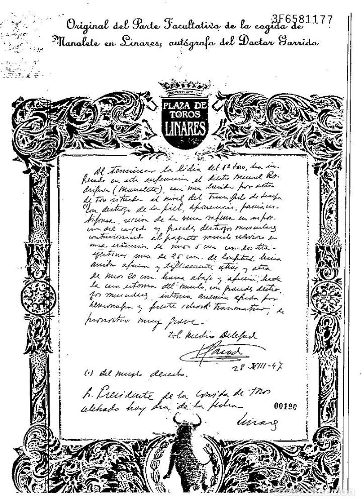 Tauromaquia: MANOLETE UNA PLANCHA ORIGINAL DEL PARTE FACULTATIVO DE LA COGIDA EN LINARES -AUTOGRAFO DR. GARRIDO - Foto 8 - 71912443