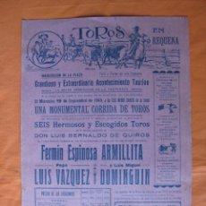 Tauromaquia: INAUGURACION PLAZA TOROS REQUENA AÑO 1945 F. ESPINOSA ARMILLITA, LUIS M. DOMINGUIN, PEPE L. VAZQUEZ. Lote 91335782