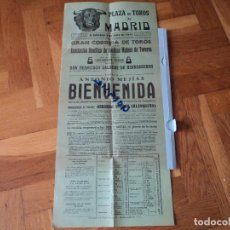 Tauromaquia: PLAZA DE TOROS DE MADRID ANTONIO BIENVENIDA 1955 CORRIDA BENEFICA MUTUA DE TOREROS 50 X 22 CM. Lote 75129499