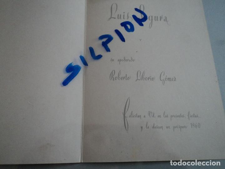 Tauromaquia: felicitacion en diptico del torero luis segura y su apoderado roberto liborio 1959 17 x 12 cm - Foto 2 - 75129959