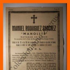Tauromaquia: ESQUELA DIARIO CÓRDOBA 30 AGOSTO 1947 - MANUEL RODRIGUEZ SANCHEZ MANOLETE. Lote 76073663