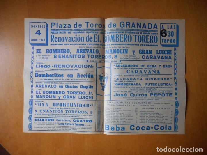 Tauromaquia: Folleto díptico El Bombero Torero. Arévalo, Manolín. Plaza de Toros de Granada, Junio 1967 - Foto 2 - 76170539