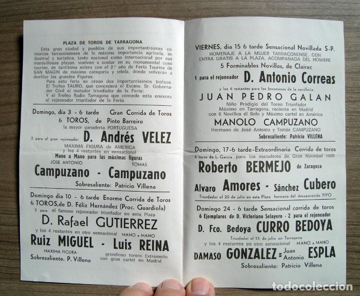 Folleto Programa Plaza Toros Tarragona 1986 Comprar Tauromaquia