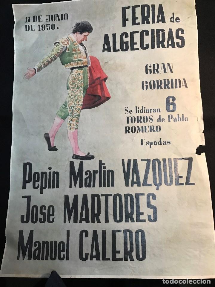 RG - CARTEL DE TOROS. PLAZA DE - ALGECIRAS. - FERIA DEL 11 - 6 - 1950 (Coleccionismo - Tauromaquia)