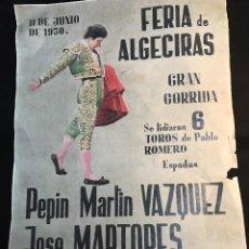 Tauromaquia: RG - CARTEL DE TOROS. PLAZA DE - ALGECIRAS. - FERIA DEL 11 - 6 - 1950. Lote 77048861