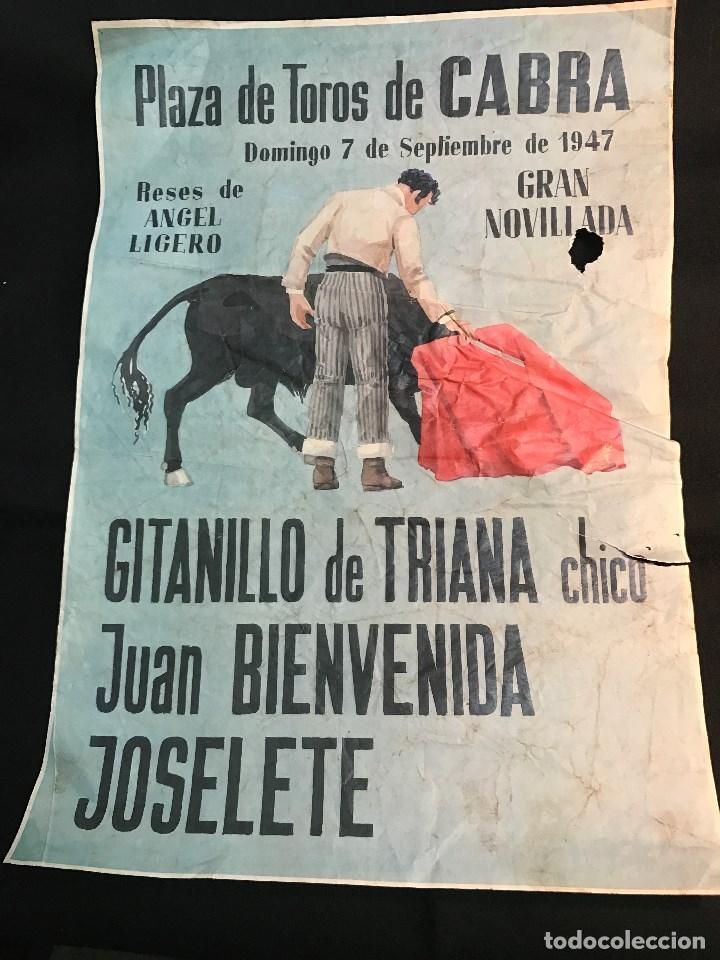 RG - CARTEL DE TOROS. PLAZA DE - CABRA. - FERIA DEL 7 - 9 - 1947 (Coleccionismo - Tauromaquia)