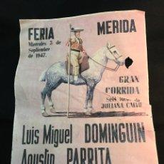 Tauromaquia: RG - CARTEL DE TOROS. PLAZA DE - MERIDA. - FERIA DEL 3 - 9 - 1947. Lote 77060613