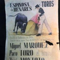 Tauromaquia: RG - CARTEL DE TOROS. PLAZA DE - ESPINOSA DE HENARES. - FERIA DEL 2 - 9 - 1964. Lote 77069313