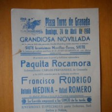 Tauromaquia: GRANADA. PLAZA DE TOROS, NOVILLADA ABRIL 1960. FOTO DE PAQUITA ROCAMORA, REJONEADORA. 17,5X12. Lote 77534949