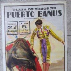 Tauromaquia: CARTEL PLAZA DE TOROS DE PUERTO BANUS. 1988. NIÑO DE LA CAPEA. ESPARTACO, LITRI. 73X35 CM. Lote 78006225