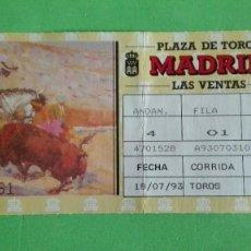 Tauromaquia: ENTRADA DE TOROS DE LA PLAZA LAS VENTAS,18/07/1993.. Lote 78343905