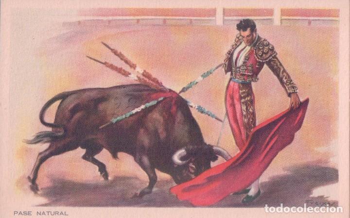 POSTAL DIBUJO TOROS - PASE NATURAL - FIRMADA FREIXAS- C.Y Z. 819 (Coleccionismo - Tauromaquia)