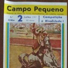 Tauromaquia: CARTEL DE TOROS. CAMPO PEQUEÑO. A. PERALTA. M.J. OLIVEIRA. J. JULIO. M. COELHO.GAN. A.BARBEIRO.1987. Lote 79005265