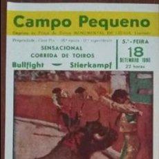 Tauromaquia: CARTEL DE TOROS. CAMPO PEQUENO. J. PAULO. F. CAROLINO. D. GONZALEZ. R. CHIBANGA. F SANTOS. 1986. Lote 179551637