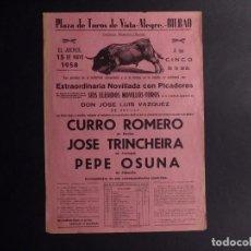Tauromaquia: CARTEL PLAZA DE TOROS VISTA ALEGRE-BILBAO 1958. Lote 79021165
