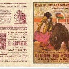 Tauromaquia: PROGRAMA CORRIDA. PLAZA DE TOROS DE ÚBEDA. 1943. MANOLETE. Lote 79861481