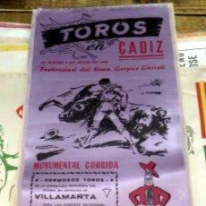 Tauromaquia: CARTEL DE TOROS - CADIZ 9 DE JUNIO DE 1966 - CURRO ROMERO -RAFAEL DE PAULA Y ANDRES VAZQUEZ - SEDA. Lote 80270089